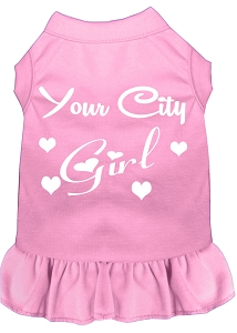 Custom City Girl Screen Print Souvenir Dog Dress Light Pink Med